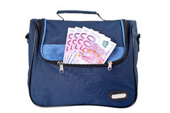Borsa blu con soldi Fotografia Stock Libera da Diritti