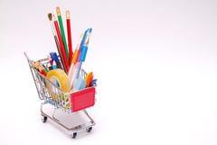 Borsa con gli strumenti della scuola Immagine Stock