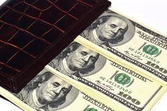 Borsa con i dollari Immagini Stock