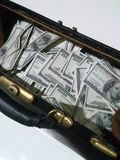 Borsa con i dollari Fotografia Stock Libera da Diritti