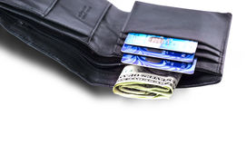 Borsa con i dollari e le carte assegni Immagine Stock Libera da Diritti