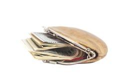 Borsa con le banconote in dollari Fotografia Stock