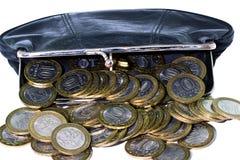 Borsa con le monete fotografia stock libera da diritti