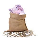 Borsa con molte euro banconote Immagini Stock