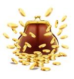 Borsa d'annata classica con i soldi delle monete di oro Immagini Stock