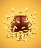Borsa d'annata classica con i soldi delle monete di oro Fotografie Stock