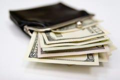 Borsa d'annata con soldi Fotografia Stock