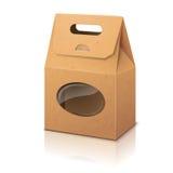 Borsa d'imballaggio di carta del mestiere realistico in bianco con Immagine Stock