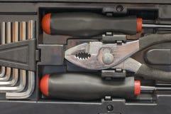 Borsa degli arnesi di vari strumenti nella casella Fotografie Stock Libere da Diritti