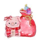 Borsa dei giocattoli con gli elementi di Natale royalty illustrazione gratis