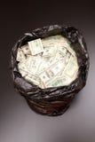 Borsa dei rifiuti con i dollari Fotografia Stock