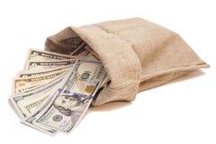 Borsa dei soldi con i dollari Immagine Stock Libera da Diritti