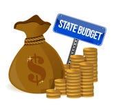 Borsa dei soldi con il bilancio pubblico Immagini Stock