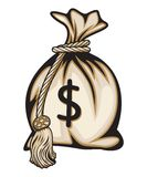 Borsa dei soldi con il simbolo di dollaro Fotografia Stock Libera da Diritti