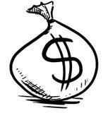 Borsa dei soldi con il simbolo di dollaro Fotografie Stock Libere da Diritti
