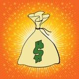 Borsa dei soldi con l'illustrazione di vettore del simbolo di dollaro. Fotografie Stock Libere da Diritti