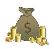 Borsa dei soldi con le monete Fotografia Stock Libera da Diritti