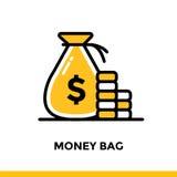BORSA dei SOLDI lineare dell'icona di finanza, contante Pittogramma nel profilo Fotografie Stock Libere da Diritti