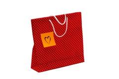 Borsa del regalo con il messaggio di forma del cuore, scritto a mano immagine stock libera da diritti