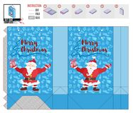 Borsa del regalo di Natale con il Babbo Natale allegro illustrazione di stock