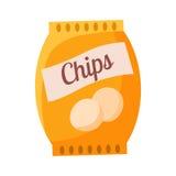 Borsa dell'illustrazione variopinta di vettore del fumetto relativo dell'oggetto della patata Chips Snack, del cinema e del cinem royalty illustrazione gratis