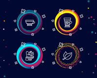 Borsa della menta, cappuccino asciutto ed icone di Frappe Segno delle foglie di menta Tè della menta, tazza della bevanda, bevand royalty illustrazione gratis