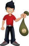 Borsa della tenuta del tipo con soldi Immagini Stock