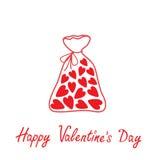 Borsa di amore con i cuori dentro. Carta felice di giorno di biglietti di S. Valentino. Fotografie Stock