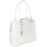 Borsa di cuoio bianca femminile con il ninnolo dell'oro isolato su bianco Fotografia Stock Libera da Diritti