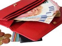 Borsa di cuoio rossa con soldi Fotografia Stock Libera da Diritti