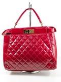 Borsa di cuoio rossa femminile Fotografia Stock