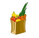 Borsa di drogheria isolata su fondo bianco Illustrazione del fumetto Frutta e verdure: banane, limone, carote, pomodoro royalty illustrazione gratis