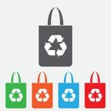 Borsa di Eco, borsa con il riciclaggio del simbolo - vettore Icona di colore Immagine Stock Libera da Diritti