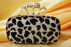 Borsa di frizione del leopardo Fotografia Stock Libera da Diritti