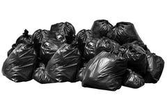 Borsa di immondizia del recipiente, recipiente, rifiuti, immondizia, rifiuti, mucchio dei sacchetti di plastica isolato su bianco Immagini Stock Libere da Diritti
