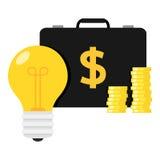 Borsa di notte, idea della lampadina nuova & soldi Immagine Stock Libera da Diritti