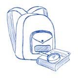 Borsa di scuola e penna a sfera di stile di contorno del libro Immagini Stock