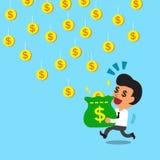 Borsa di trasporto dei soldi dell'uomo d'affari per prendere le monete di caduta Immagine Stock Libera da Diritti