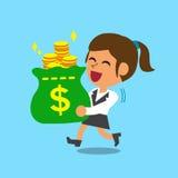 Borsa di trasporto dei soldi della donna di affari Fotografia Stock Libera da Diritti
