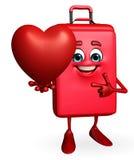 Borsa di viaggio Chatacter con cuore rosso Immagini Stock