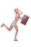 Borsa di viaggio della donna di vacanza Fotografie Stock