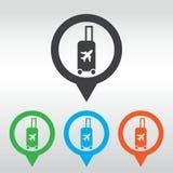 Borsa di viaggio - illustrazione isolata, perno di vettore della mappa dell'icona Fotografia Stock