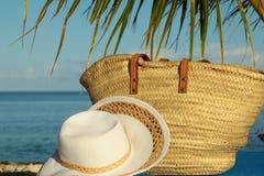 Borsa e cappello di vimini sotto la fronda della palma Fotografia Stock