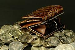 Borsa e la moneta Fotografia Stock Libera da Diritti