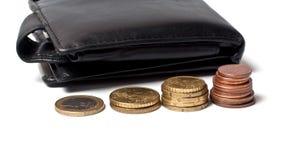 Borsa e monete Fotografie Stock Libere da Diritti