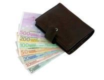 Borsa ed euro banconote da cinque fino a cinquecento Fotografia Stock
