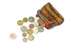 Borsa ed euro monete isolate su bianco Fotografie Stock