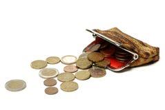Borsa ed euro monete isolate su bianco Fotografia Stock Libera da Diritti