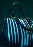 borsa esposta in uno shop-window fotografie stock
