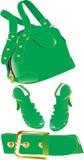 Borsa, fascia e pattini verdi Immagini Stock Libere da Diritti